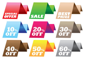 Sale Discount Folded Labels Vector Design Elements