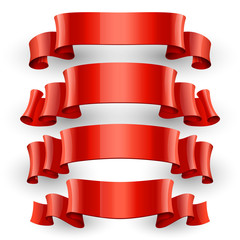 Realistic Red Glossy vector ribbons set