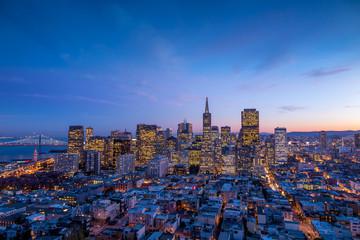 downtown San Francisco at sunset.