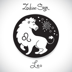Leo zodiac sign of horoscope circle emblem in cartoon style.