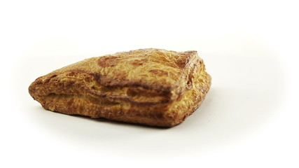 Baked strudel with liver Rotating On White Background
