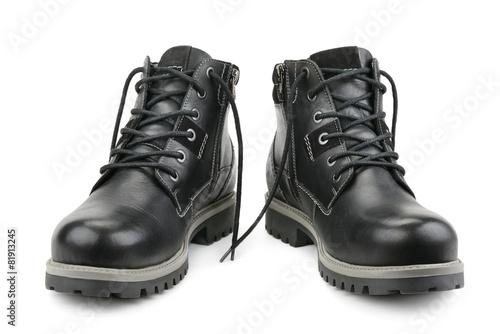 Stylish men's shoes isolated on white - 81913245