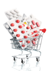 Pills in a supermarket shopping trolley