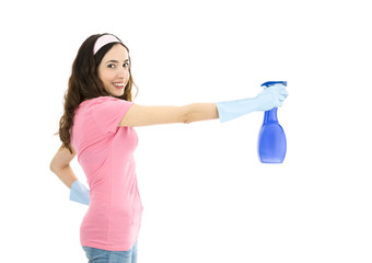 Spring cleaning woman spraying with a detergent