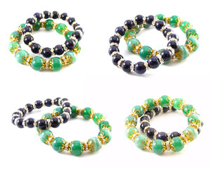 green and black jewellery crystal isolated on white background