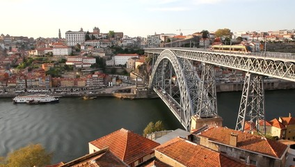 Porto, Portugal: overview of Dom Luis bridge over Douro river