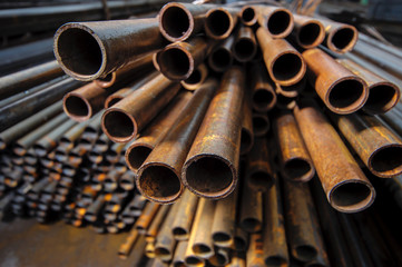 Metal rusty pipes close