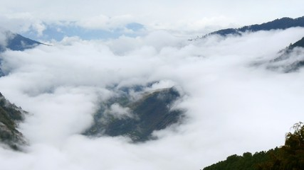 Foggy Himalayas mountains. Nepal