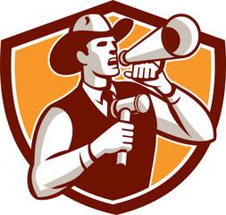 Cowboy Auctioneer Bullhorn Gavel Shield
