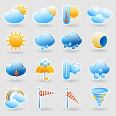 Weather forecast symbols icons set