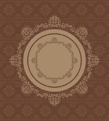Ornamental circular element on a seamless dark brown background