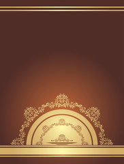 Golden ornamental element on a dark brown background