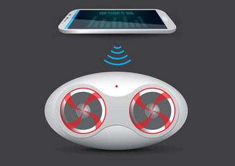 Wireless Music Stream Speaker and Smartphone or Tablet - Vector