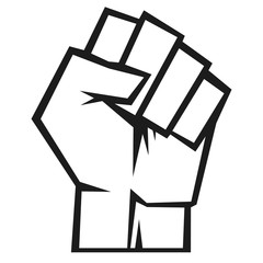 Raised fist, vector illustration.
