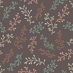 Amazing cute seamless vintage colorful floral pattern