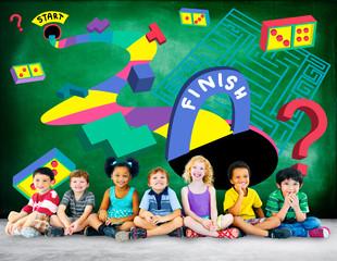 Kids Maze Puzzle Game Fun Solution Concept