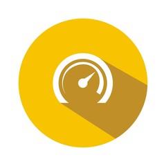 Icono velocímetro amarillo botón sombra