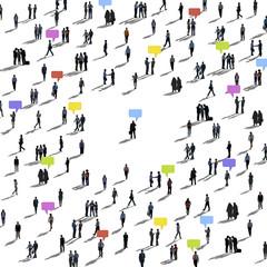 Crowd People Speech Bubbles Community Concept