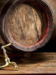 Old oak wine barrel.