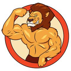 Muscular lion is posing