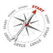 Leinwanddruck Bild - Kompassnadel zeigt auf START