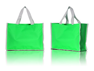 green shopping bag on white background
