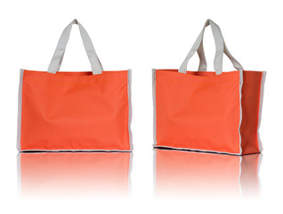 orange shopping bag on white background