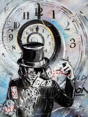 Magician card shuffling graffiti