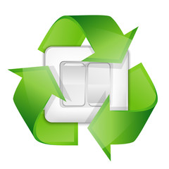 Light switch with recycle symbol - renewable energy concept. Vec