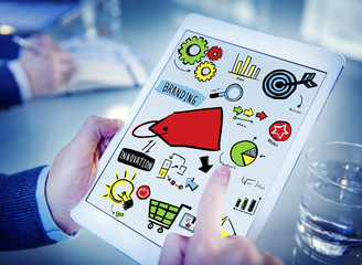 Businessman Branding Marketing Digital Devices Concept