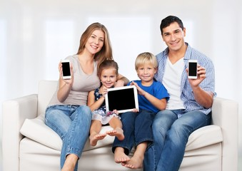 Phone. Family, child, technology and home concept - smiling