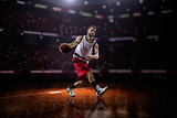 Fototapeta red Basketball player in action