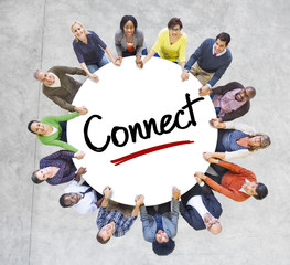 Diverse People in a Circle with Connect Concept