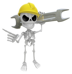3D Skeleton Mascot is slung the spanner over his shoulders. 3D S