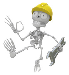 3D Skeleton Mascot the right hand OK gesture and the left hand i