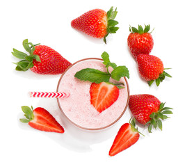 Strawberry smoothie; view from above