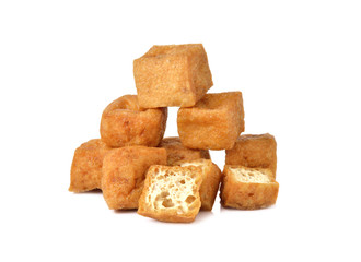 deep fried Tofu on white background
