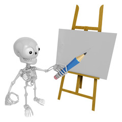 3D Skeleton Mascot is There in front of the easel holding a penc