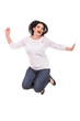 Jumping cheerful woman