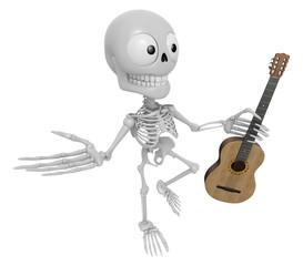 3D Skeleton Mascot is holding acoustic guitar. 3D Skull Characte