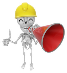 3D Skeleton Mascot is speakn over a loudspeaker. 3D Skull Charac