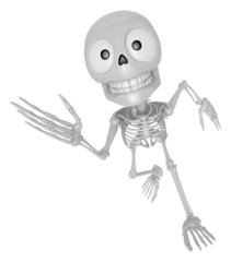 3D Skeleton Mascot on Running. 3D Skull Character Design Series.