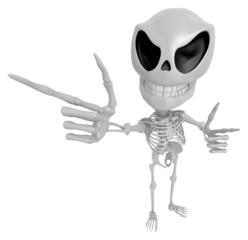 3D Skeleton Mascot is taking gestures of Double pistols. 3D Skul