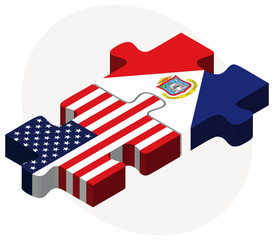 USA and Sint Maarten (Dutch Part) Flags in puzzle