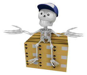 3D Skeleton Mascot is siting on top of the delivery boxes. 3D Sk