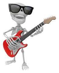 3D Skeleton Mascot is played the guitar with nimble fingers. 3D