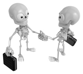 3D Skeleton Mascot shake hands with each other. 3D Skull Charact