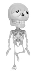 3D Skeleton Mascot is just tired all the time. 3D Skull Characte