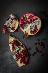 Pomegranate core  Luxurious black background