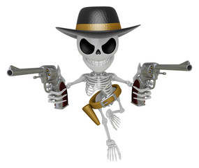3D Skeleton Mascot is villains holding a revolver gun with both